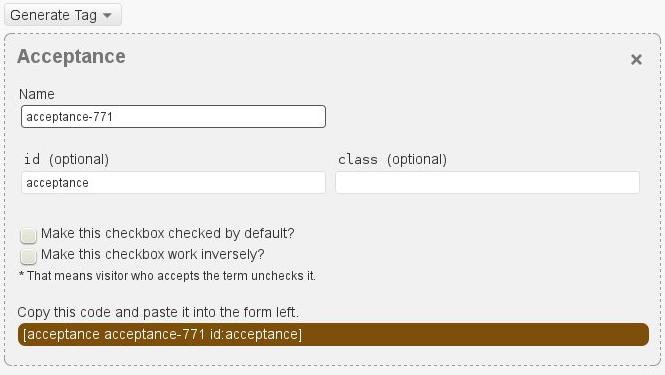 Terms of Service acceptance checkbox