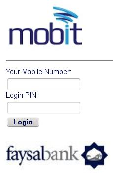 Mobit Login Screen